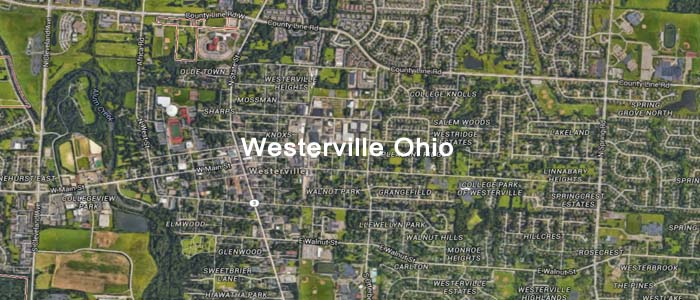 A map of Westerville Ohio, one of the service areas for Appliance Man Repair